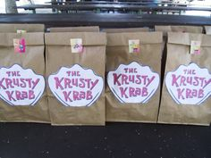 Spongebob party goody bags.  Lunch bags from the Krusty Krab!