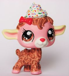 Littlest Pet Shop Whipping Cream Dessert Lamb OOAK custom figure Choco berry LPS #Hasbro