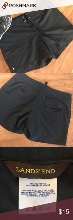 NWOT {Land's End} Shorts Perfect condition Lands' End women's size 2 black w/ blue rivets board shorts! Back Velcro pocket. Smoke-free home. Bundle and save!!! Lands' End Shorts