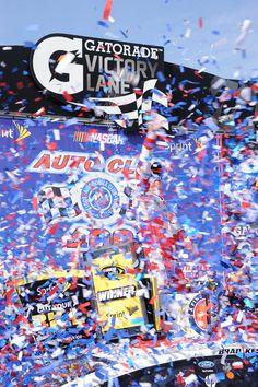 Victory Lane celebration - Brad Keselowski Photo Credit: Auto Club Speedway