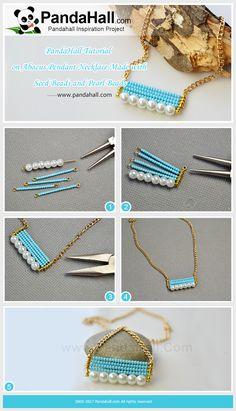 Collier pendentif Abacus fait de perles de rocailles et de perles