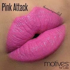 """""""Pink Attack"""". Motives® for La La Moisture Rich Lipstick. Available at http://us.opc3.com/mabelchan/product/motives-for-la-la-moisture-rich-lipstick/?id=109MLMRL&skuName=pink-attack&idType=sku"""