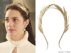 Rosantica Apache gold-dipped pearl headband from Reign Reign Hairstyles, Wedding Hairstyles, Reign Tv Show, Pelo Vintage, Reign Mary, Reign Dresses, Reign Fashion, Fashion Accessories, Hair Accessories
