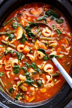Slow Cooker Tortellini Minestrone Soup