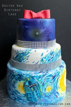 Doctor Who Cake Decorating Project for all you whovians from Confectionalism.com featuring a Tardis in Van Gogh's Starry Night