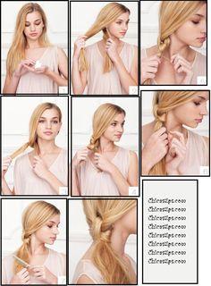 Recogido lateral informal.  Un peinado muy fácil de hacer, aplicar espuma en el pelo. Peinar todo el cabello hacia un lado, dividirlo en dos mechones y hacer dos nudos con ellos. Para evitar que se suelte el pelo, fijar con horquillas.