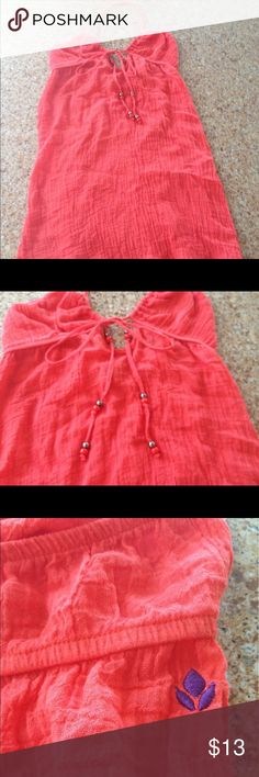 Super cute reef sundress or beach coverup size S Summer is almost here. Super cute coral/pink colored reef sundress made from a very lightweight 100% cotton /gauze like material.  Size small, in excellent preowned condition, only worn once! Reef Dresses Mini
