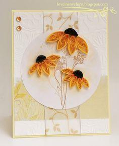 Love in Envelope: Quilled Yellow Orange Sunflower