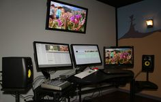 They say that gray walls enable you to judge color better in monitors. Studio Setup, Studio Ideas, Studios, Editing Suite, Desk Inspiration, Desk Setup, Cool Tech, Photography And Videography, Grey Walls