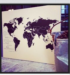 World Map on canvas, Atlas, Canvas Map with Country borders, personalized world map