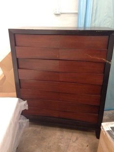 Tall solid wood chest. dEEP drawers metal glides in Hollywood, FL (sells for $80)