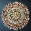 Crochet Mandala Rug Round Placemat for meditation decoration gift orange and grey Motif Mandala Crochet, Crochet Circles, Crochet Squares, Crochet Stitches, Crochet Patterns, Peacock Crochet, Crochet Mandela, Manta Crochet, Crochet World