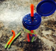 Spice container + pipe cleaners = great busy activity for 1-3 year olds! Did this for my 1 year old on a long plane trip & it took up a good amount of time.
