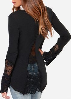 Fabulous Long Sleeve Black T Shirt with Lace