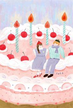 Jiah Fan on Behance Cute Pastel Wallpaper, Wallpaper Iphone Cute, Deer Illustration, Character Illustration, Happy Birthday Illustration, Illustrations Posters, Cute Art, Drawings, Behance