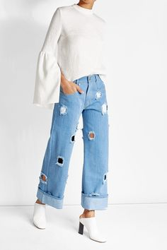 Rejina Pyo - Straight Jeans with Cut-Out Holes   STYLEBOP