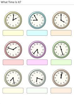 Actividades para niños preescolar, primaria e inicial. Plantillas con relojes analogicos para aprender la hora diciendo que hora es. Que hora es. 9
