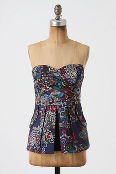 Anthropologie Fei Primula Corset Pleated Strapless Top Shirt Blouse Sz 8 $78 | eBay