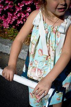 Hierloom Cabbage Rose reversible monogrammed ribbon dress