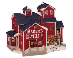 Lemax Bakers Mill. SKU# 75240 - This porcelain lighted building for the Harvest Crossing collection was first introduced in 1998 and retired in 2002.
