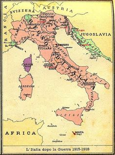 Map of Kingdom of Italy (1919) showing the areas claimed by Irredentism:in red Malta, in purple Corsica, in yellow with green points Dalmatia, Ticino and Nizzardo.