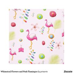 Whimsical Flowers and Pink Flamingos Canvas Print