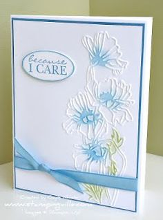 flower garden care The embossed flower image is created using the new SU Flower Garden Textured Impressions Embossing Folder and the Big Shot. To add a subtle pop of color to the flowers, simply rub an inked sponge dauber over the embossed image. Handmade Greetings, Greeting Cards Handmade, Tarjetas Stampin Up, Making Greeting Cards, Stamping Up Cards, Rubber Stamping, Embossed Cards, Get Well Cards, Sympathy Cards