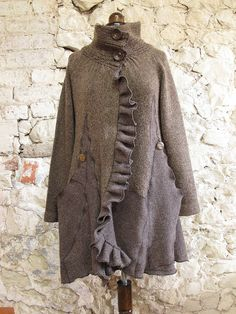 reconstructed sweater coat  by raggedyrags