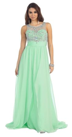 Scoop Neck Sleeveless Chiffon Formal Long Prom Dress - The Dress Outlet - 9
