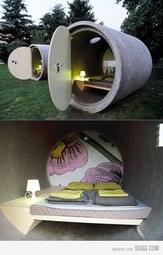 A hotel with rooms made of giant concrete sewage pipes might sound a little odd, but this artistic creation can be recreated to provide cheap lodging. Glamping, Camping Am Meer, Sleeping Pods, Unusual Hotels, Capsule Hotel, Hotel Apartment, Apartment Therapy, Park Hotel, Hotel Bed