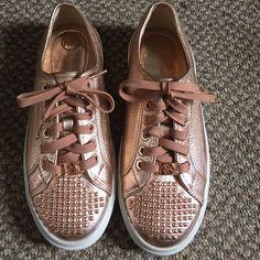 "Spotted while shopping on Poshmark: ""Michael kors rose gold metallic sneakers""! #poshmark #fashion #shopping #style #Michael Kors #Shoes"
