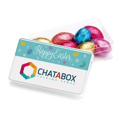 Mini easter egg gift box these are such popular treats for promotional maxi rectangles with foil wrapped chocolate eggs brand with your logo from redbows negle Gallery