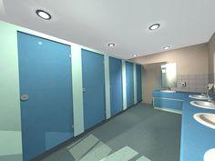 Two tone blue washroom