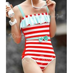 Vintage Straps Stripe Bowknot Embellished One Piece Women's Swimsuit