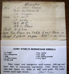 me ~ Exuberant Color: Kringla recipes. I used butter instead of margarine and baked for 8 minutes exactly. Retro Recipes, Old Recipes, Vintage Recipes, Cookbook Recipes, Cooking Recipes, Chilli Recipes, Jamaican Recipes, Chicken Recipes, Holiday Baking