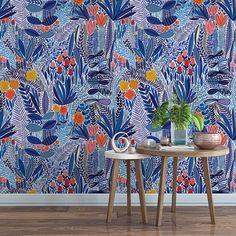 Blue wildflower field floral removable wallpaper / cute self adhesive wallpaper / botanical temporary wallpaper B157-27