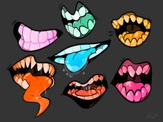 """Manga Drawing Techniques retroautomaton: """" Unnaturally colorful mouths for practice and whatnot. """" - U like teeth, I like teeth, we could be friends hell yeah! awesome to see someone else loves teeth like I do Mouth Drawing, Manga Drawing, Drawing Cartoon Faces, Art Reference Poses, Drawing Reference, Art Sketches, Art Drawings, Character Art, Character Design"""