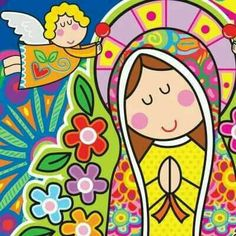 virgencit How sweet! Art Lessons For Kids, Art For Kids, Virgin Mary Art, Mary And Jesus, Holy Mary, Arte Popular, Blessed Mother, Mother Mary, Religious Art