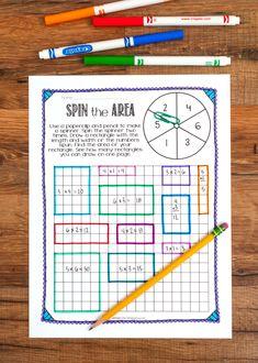 Teaching area and perimeter math Maths Area, Third Grade Math, Grade 3, Fourth Grade, Math Activities, Math Games, Math Vocabulary, Math Math, Math Fractions