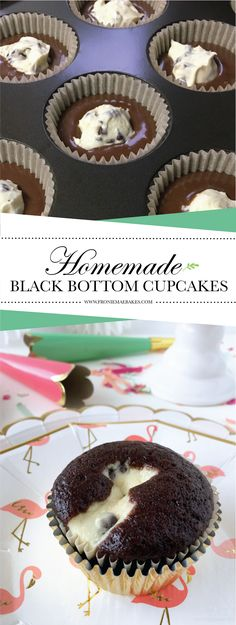 Make these delicious Homemade Black Bottom Cupcakes in a snap! Recipe at www.FronieMaeBakes.com