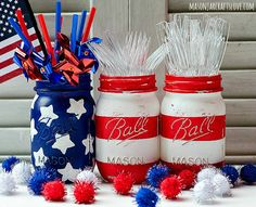 Patriotic Crafts | Check out how these mason jars were made over with paint. Perfect for Memorial Day or Fourth of July!