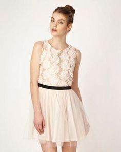 Designer light pink ribbon flower prom dress, Debenhams