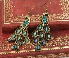 peacock earrings blue purple resin bead by KateWonderJewelry, $0.99