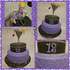 Purple and black 18th birthday cake with diamanté bling and girl in a glass on top