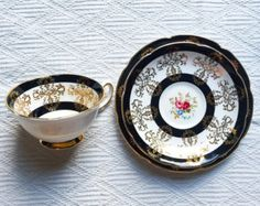 Royal Grafton 1940's Black and White Floral Gold Gilded Teacup Trio - Edit Listing - Etsy