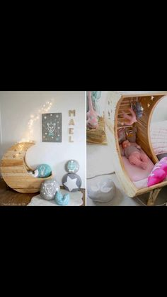 What infant or toddler wouldn't love to sleep in this fairytale moon crib or bed? Designed by Creme Anglaise, the moon crib retails at around - a bit pricey for us South Africans, but you could make your own moon crib or bed. Baby Bassinet, Baby Cribs, Moon Crib, Everything Baby, Cool Baby Stuff, Decoration, Kids Bedroom, Baby Bedroom, Nursery Room