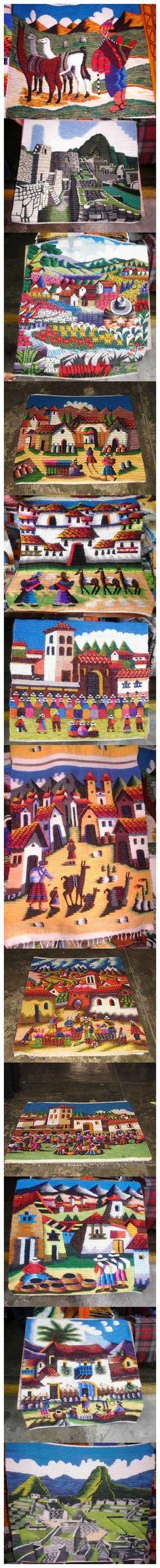 Peruanische handgewebte Teppiche liebevoll mit Muster gestaltet, Handarbeit aus Peru.
