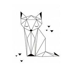Geometric Fox Poster Origami Game by Claudia Soria x 40 cm) - Origami - Tattoo Origami Tattoo, Origami Cat, Fun Origami, Origami Ideas, Origami Design, Geometric Fox, Geometric Tattoo Design, Geometric Drawing, Geometric Mandala
