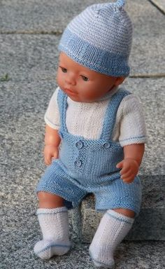 "Lovely doll knitting pattern to Baby born in light blue and white, easy to knit 17"" fits into 18"" clothes"