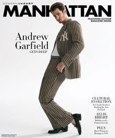 """""""Under the Silver Lake"""" star Andrew Garfield covers the December 2018 editions of Modern Luxury photographed by Brian Higbee. Tapas, Andrew Garfield, Boy Meets, Silver Lake, Modern Luxury, Wardrobe Staples, Manhattan, Nyc, Magazine"""